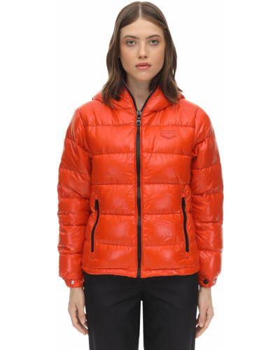 Оранжевая пуховая куртка с капюшоном Duvetica