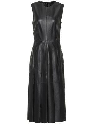 Кожаное черное платье миди Joseph