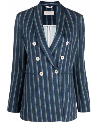 Синий удлиненный пиджак двубортный в полоску Circolo 1901