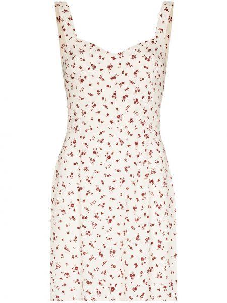 Платье мини в цветочный принт - белое Reformation