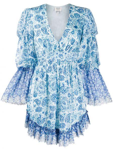 Кружевное с рукавами синее платье Hemant And Nandita