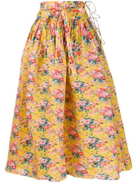Żółta spódnica ołówkowa rozkloszowana z wysokim stanem Horror Vacui