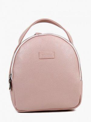 Розовый городской кожаный рюкзак медведково