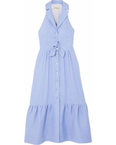 Льняное синее платье с жемчугом Temperley London