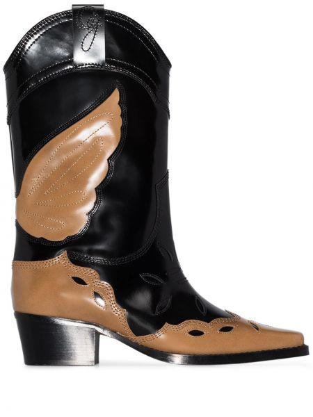 Wysoki buty kowboj czarne Ganni