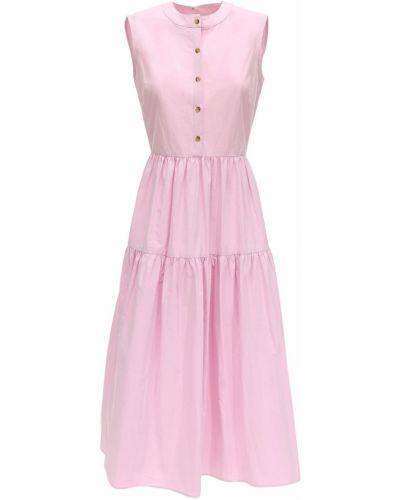 Różowa sukienka midi bez rękawów bawełniana Ciao Lucia