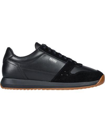 Кожаные кроссовки - черные Hugo Boss
