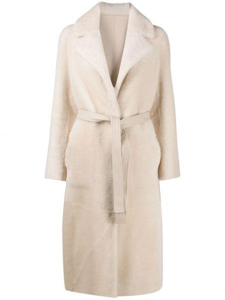Кожаное длинное пальто с запахом Blancha