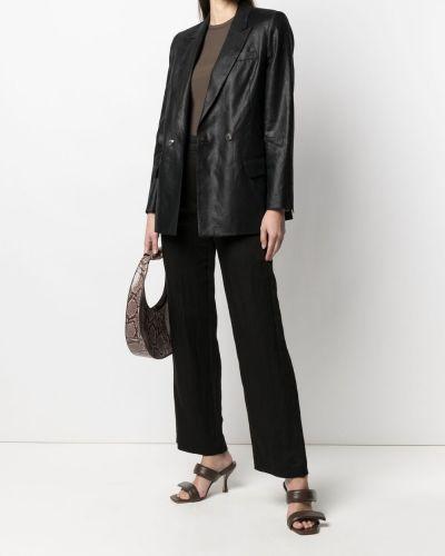 Черный удлиненный пиджак двубортный с карманами Tela