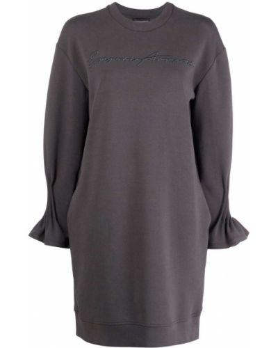 Серое платье с вышивкой Emporio Armani