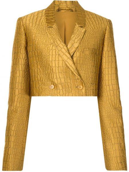 Желтый удлиненный пиджак двубортный на пуговицах Lapointe