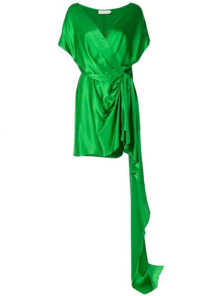 Платье с V-образным вырезом шелковое Michelle Mason