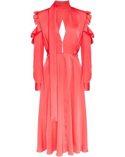 Красное платье миди с декольте с оборками ли-лу