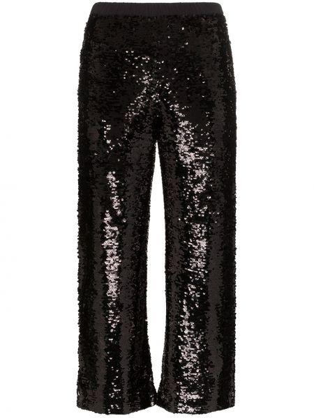 Czarne spodnie z wysokim stanem z paskiem Figue