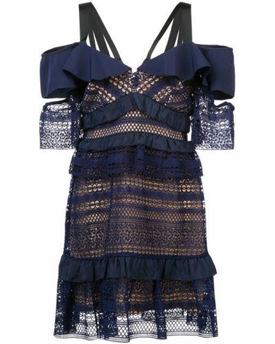 Платье мини с V-образным вырезом с вышивкой Self-portrait