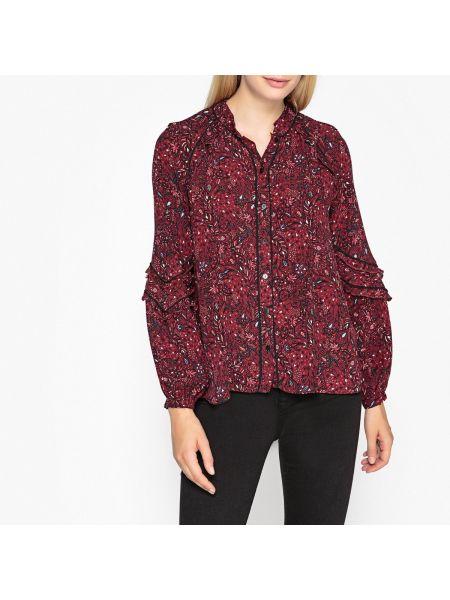 Бордовая прямая блузка с длинным рукавом с оборками на пуговицах Berenice