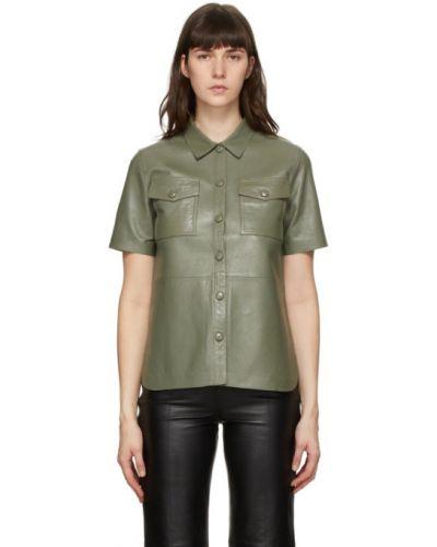 Кожаная рубашка с короткими рукавами с воротником Stand Studio