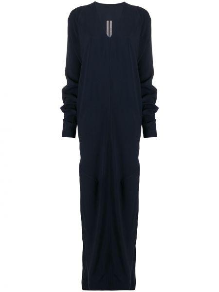 Niebieski długo sukienka z wiskozy z dekoltem w szpic z raglanowymi rękawami Rick Owens