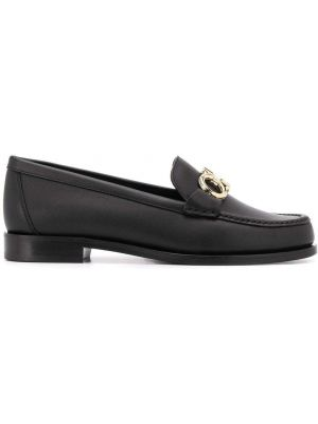Лоферы черные на каблуке Salvatore Ferragamo