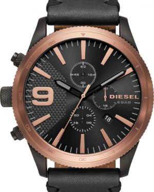 Кварцевые часы с кожаным ремешком Diesel