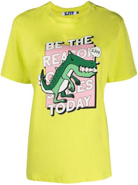 Хлопковая зеленая с рукавами рубашка Sjyp