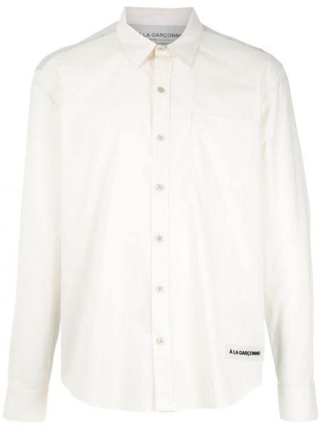 Белая классическая рубашка с воротником свободного кроя на пуговицах à La Garçonne