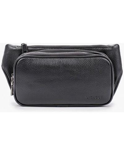 Кожаная черная поясная сумка Vitacci