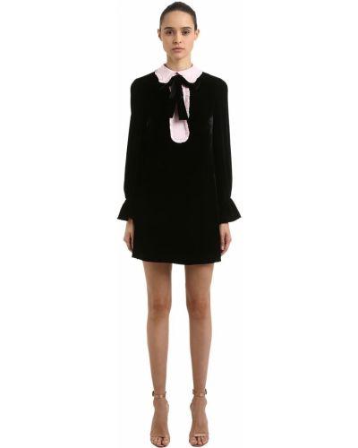 Czarna sukienka mini z długimi rękawami z aksamitu Vivetta