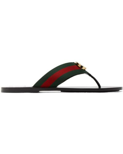 Otwarty czarny skórzany sandały okrągły nos Gucci