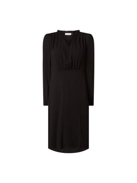 Czarna sukienka rozkloszowana z falbanami Rosemunde