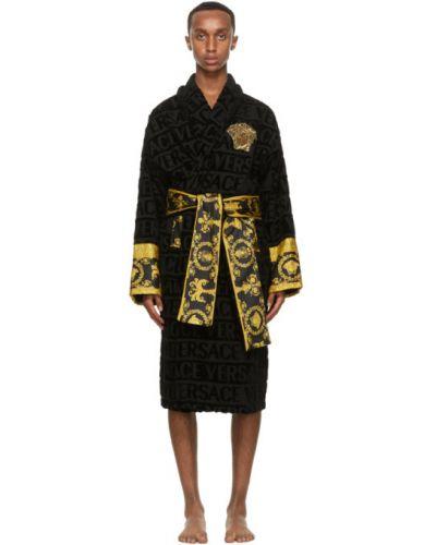 С рукавами черный халат с воротником с поясом Versace