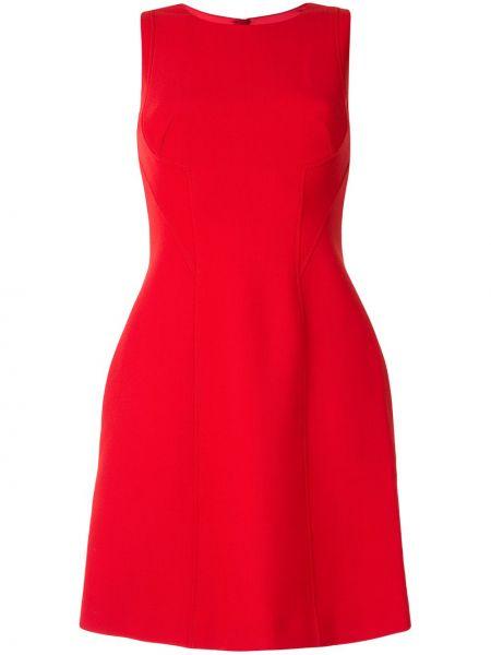 Красное расклешенное платье мини с карманами без рукавов Paule Ka