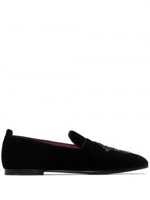Бархатные черные слиперы без застежки Dolce & Gabbana