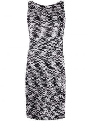 Трикотажное черное платье миди без рукавов Missoni