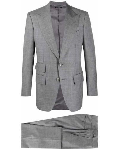 Z rękawami jednorzędowy wełniany garnitur Tom Ford