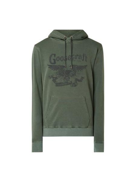 Zielona bluza z kapturem bawełniana Goosecraft
