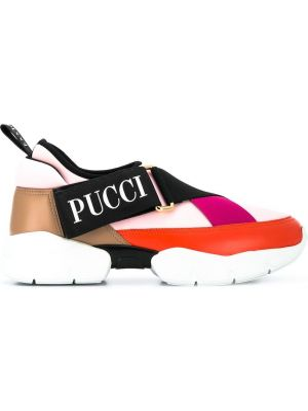 Sneakersy różowy z nadrukiem Emilio Pucci