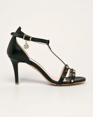 Czarne sandały skorzane Trussardi Jeans
