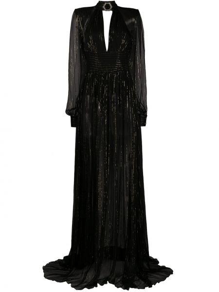 Шелковое черное платье макси с открытой спиной Philipp Plein