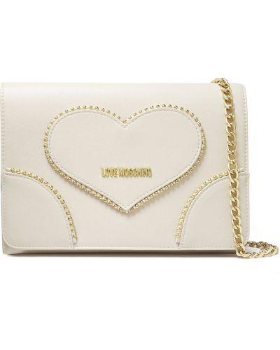 Złota kopertówka - biała Love Moschino