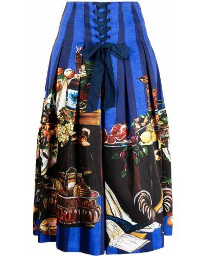 Синяя юбка с завышенной талией Stella Jean