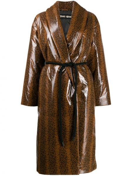 С рукавами коричневое нейлоновое пальто оверсайз Ienki Ienki
