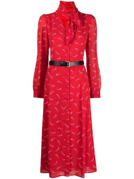Красное платье миди с поясом с вырезом Michael Kors