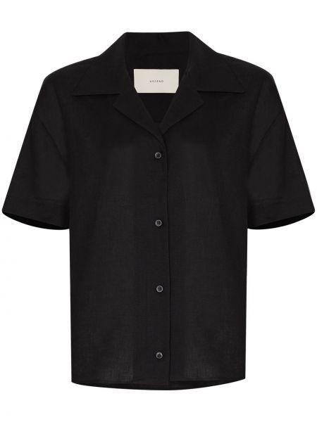 Льняная с рукавами черная рубашка Asceno