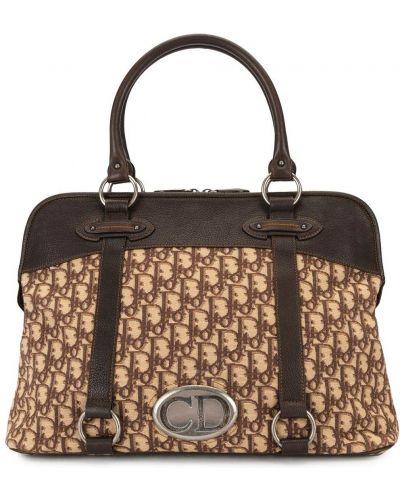 Brązowy skórzany torba toaletowa z kieszeniami Christian Dior