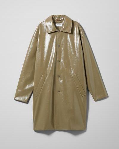Бежевая кожаная куртка Weekday