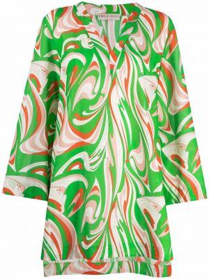 Хлопковое платье макси с длинными рукавами с принтом Emilio Pucci