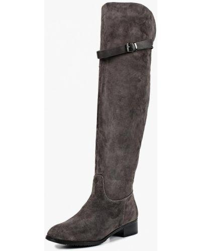 Ботфорты на каблуке серые замшевые Provocante