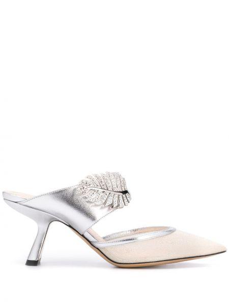 Серебряные туфли сетчатые без застежки Nicholas Kirkwood