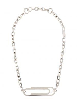 Ażurowy biały naszyjnik srebrny Off-white